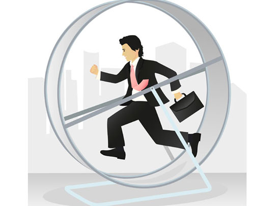 Running man on a hamster wheel